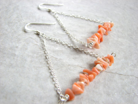 Sterling,Silver,Coral,Triangle,Earrings,bamboo coral, coral earrings, chain earrings, sterling silver triangle, triangle earrings, french hook, drop, dangle,geometric, jewelry, modern, coral chips, salmon color, peach color, womens gifts