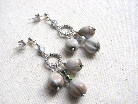 Jobs,Tear,Seed,Chandelier,Post,Earrings,,Natural,Jewelry,jobs Tears, job tear, jobs tear jewelry, stud chandelier earrings, silver post earrings, grey chandelier earrings, seed jewelry, seed earrings, natural jewelry, nature earrings, women's long earrings, beach wedding earrings