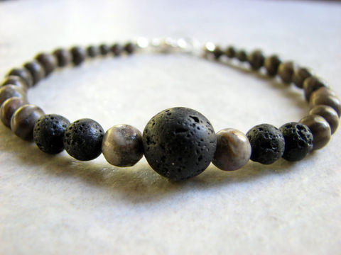 Mens,Bracelet,in,Black,Lava,and,Grey,Stones,mens bracelet, black lava bracelet, pumice bracelet, grey stone, custom sizes, mens jewelry, stone bracelet, stone jewelry, black and grey, lobster claw clasp, waxed lava, beaded bracelet