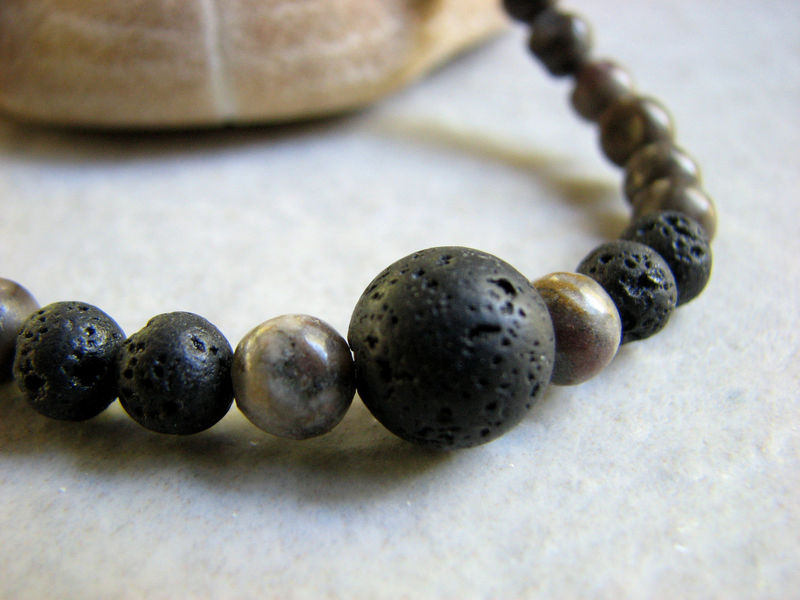 Mens Bracelet in Black Lava and Grey Stones  - product images  of