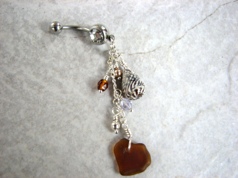 Sea Glass and Shell Long Dangle Belly Button Piercing - product images  of