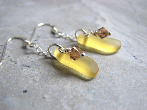 Small,Yellow,Cultured,Sea,Glass,Earrings,sea glass, cultured, faux, imitation, beaded, dainty, earrings, yellow, topaz, golden, amber brown, dangles, sterling silver, recycled, frosted finish, jewelry, womens