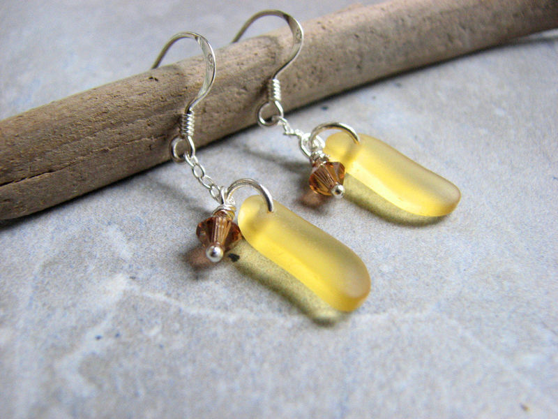 Small Yellow Cultured Sea Glass Earrings - product images  of