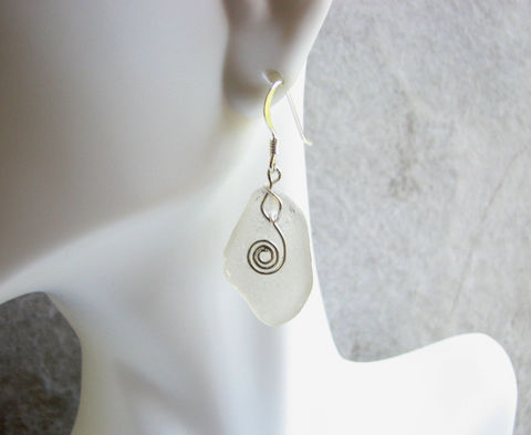Genuine,Seaglass,and,Sterling,Silver,Dangle,Earrings,in,Frosty,White,white, frosted, sea glass, beach glass, seaglass, earrings, dangle, sterling silver, wire wrapped, coil accent, beach bride, jewelry, wedding, 1 inch long, genuine glass,