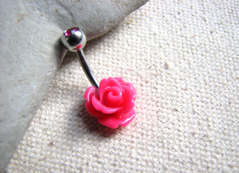 Bright,Pink,Flower,Belly,Bar,bright pink flower, pink rose, magenta, fuchsia, bloom, bud, belly bar, belly ring, navel ring, piercing, flower jewelry, 14 GA, small, short, surgical steel