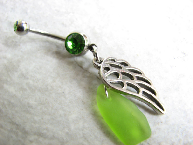 Angel Wing Belly Button Ring with Hawaiian Sea Glass - product images  of