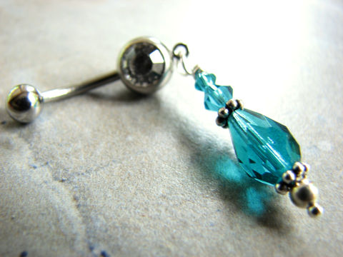Sparkling,Teal,Crystal,Bead,Belly,Ring,teal, crystal, beads, beaded, dangle, sparkle, sparkly, belly rings, navel ring, piercing, belly button, bellybutton, blue, aquamarine, glitz, glamour, dancer, surgical steel, bits off the beach