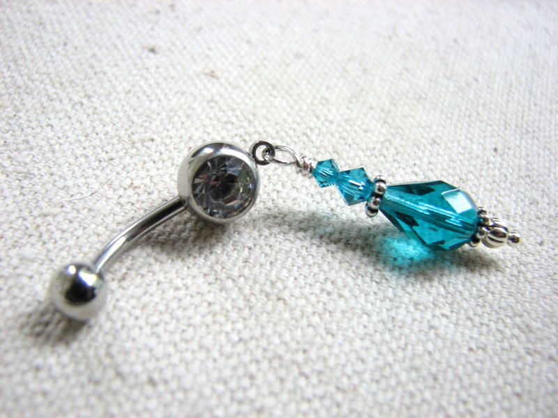 Sparkling Teal Crystal Bead Belly Ring - product images  of