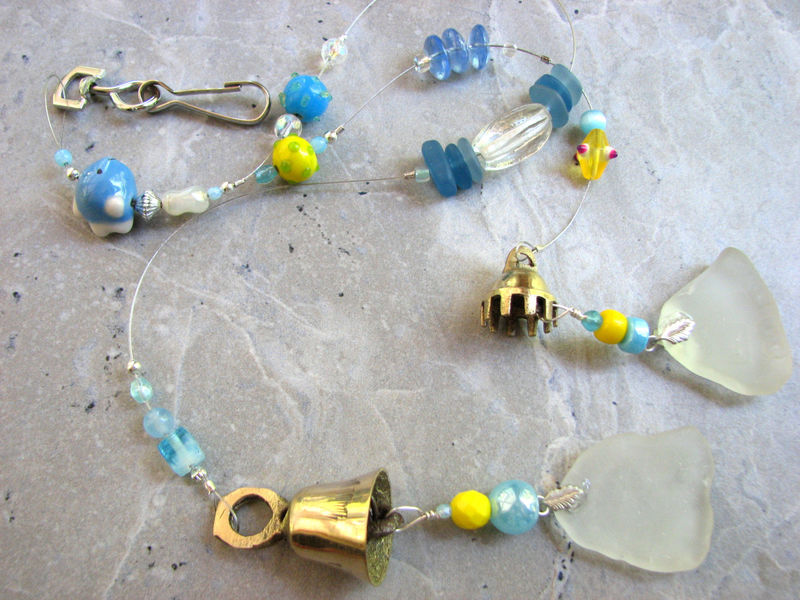 Frosted White Sea Glass Wind Chime, Yellow, Blue and White Beaded Sun Catcher, - product images  of