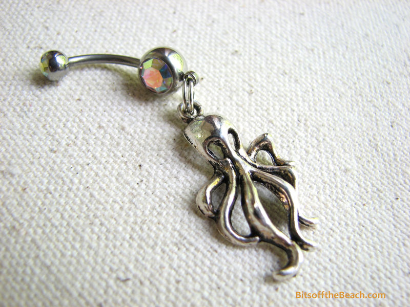 Silver Octopus Belly Button Piercing, Kraken Body Jewelry - product images  of