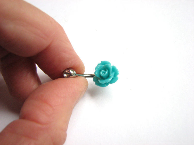 Small Teal Blue Rose Bellybutton Ring with Silver or Gold Belly Bar - product images  of