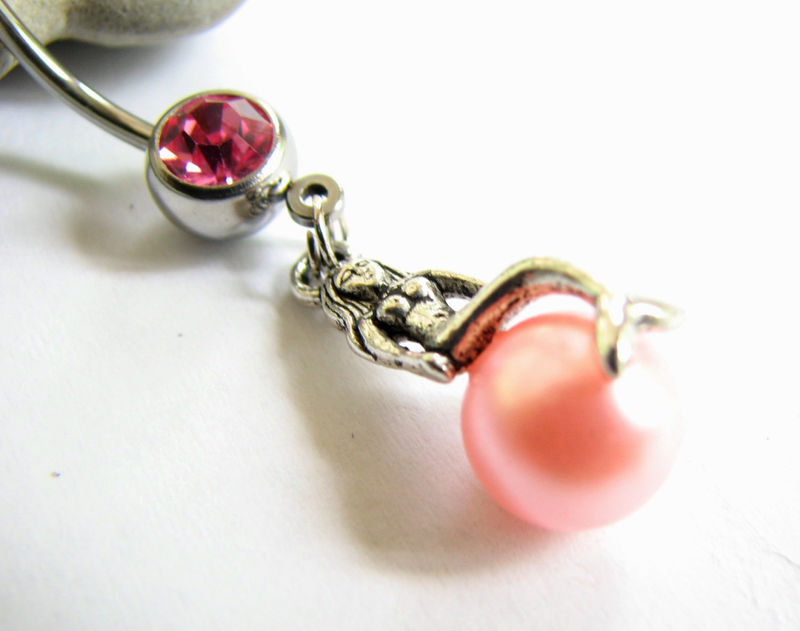Pink Pearl and Mermaid Belly Button Ring - product images  of
