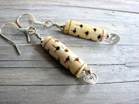 Rustic,Bone,Bead,Dangle,Earrings,bone jewelry, bone earrings, tan, brown, star pattern, wire wrap coils, short dangles, sterling silver, boho earrings, rustic earrings, rustic jewelry, tube bead