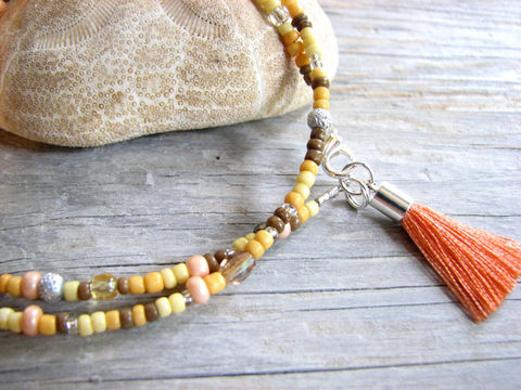 Convertible,Anklet,or,Necklace,with,Coral,Tassel,tassle anklet, ankle bracelet, bead, beaded, neutral colors, peach tassel, fringe anklet, convertible anklet, convertible necklace, tassel necklace, brown, taupe, handmade, crafted, ankle jewelry, bitsoffthebeach