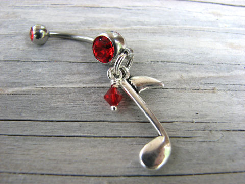 Musical,Note,Belly,Button,Rings,,Pierced,Jewelry,music, note, musical, band, group, belly button rings, bellybutton, navel rings, piercings, womens, dangle, surgical steel, singer, instrument,