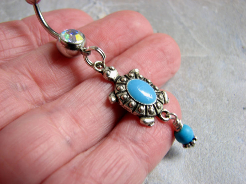 Turquoise Turtle Belly Button Ring, Dangle Body Jewelry - product images  of