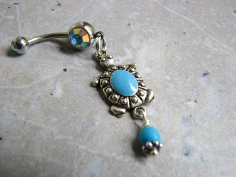 Turquoise,Turtle,Belly,Button,Ring,,Dangle,Body,Jewelry,turquoise beaded turtle belly button ring, dangle belly ring, body jewelry, cute belly rings, handmade, unique, turquoise turtle belly button piercing, turtle navel ring, turtle piercing, dangle belly rings, dangle bellybar