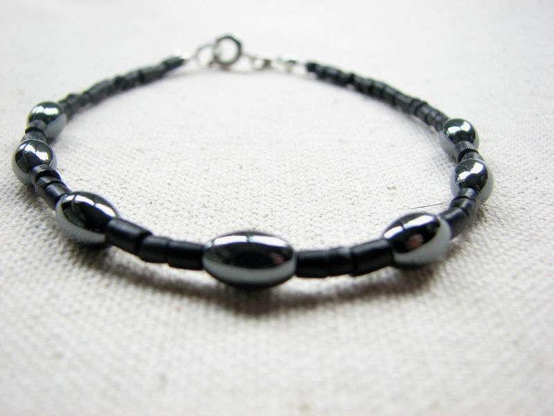 Mens Hematite and Black Coconut Bracelet - product images  of