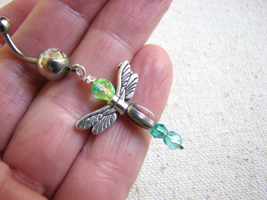 Aqua Blue Bead Dragonfly Belly Ring - product images  of