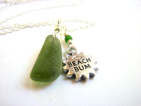 Beach,Bum,Sea,Glass,Necklace,in,Green,beach bum sea glass necklace olive green seaglass jewelry ocean nautical fun playful casual womens 18 inch sterling silver chain Tawain jade bead wire wrapped handmade