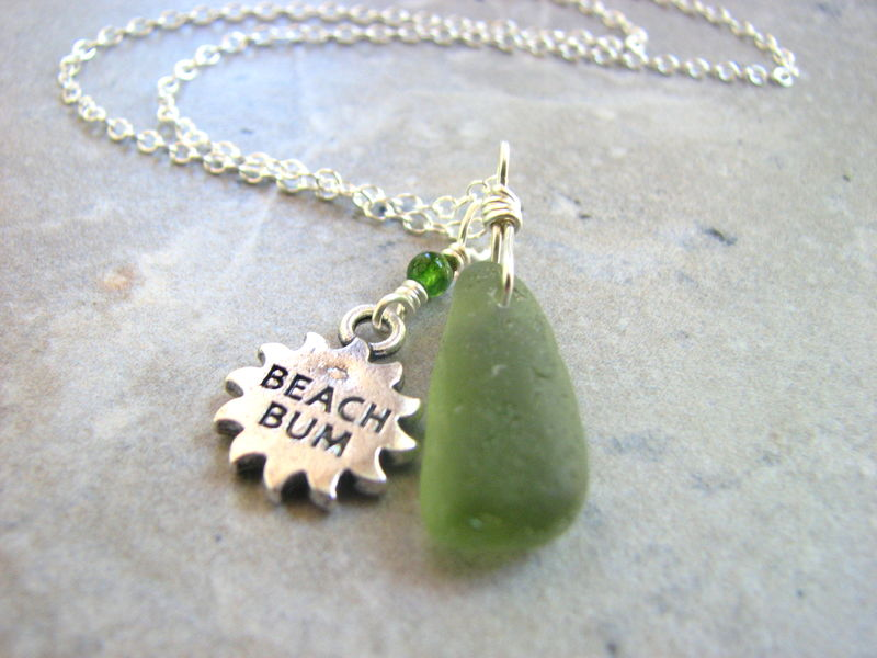 Beach Bum Sea Glass Necklace in Green - product images  of