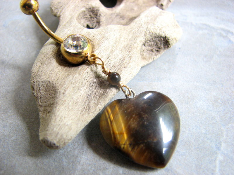 Tigers Eye Heart Belly Ring with Gold Titanium Belly Bar - product images  of