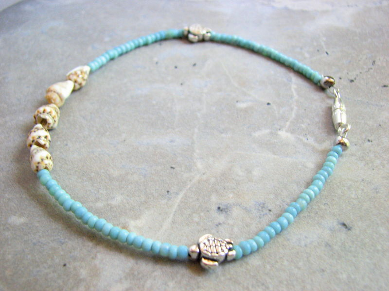 Turquoise and Shell, Sea Turtle Ankle Bracelet - product images  of