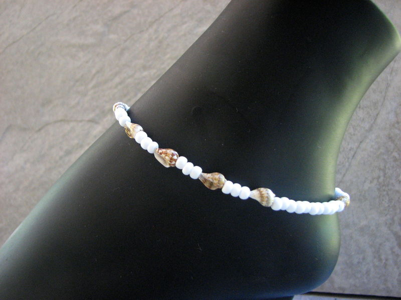 White Beaded Sea Shell Ankle Bracelet, Beach Bride Anklet - product images  of