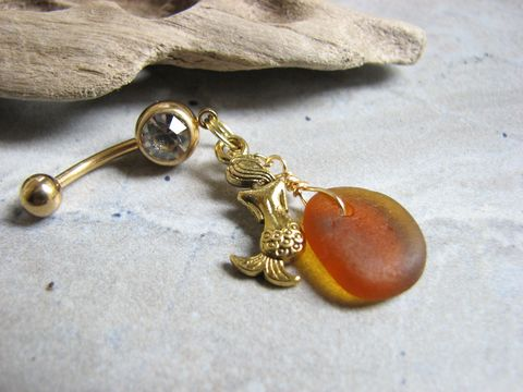 Gold,Titanium,,Mermaid,and,Sea,glass,Belly,Ring,Gold anodized Titanium Belly Bar, mermaid belly ring, amber brown, sea glass, beach glass, seaglass, Gold, bellybutton, piercing, navel jewelry, belly button ring, ocean, mythical, siren, shy mermaid, two sided, dangle, dangly, beachy,