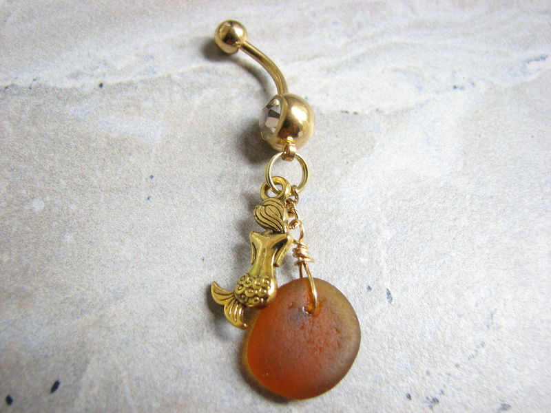 Gold Titanium, Mermaid and Sea glass Belly Ring  - product images  of