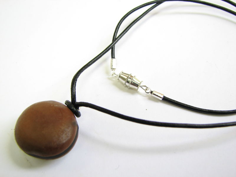 Hamburger Sea bean Leather Choker Necklace, Seabean Jewelry - product images  of