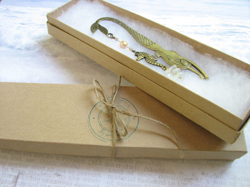 Brass Mermaid and Seahorse Bookmark with Fresh Water Pearl - product images  of
