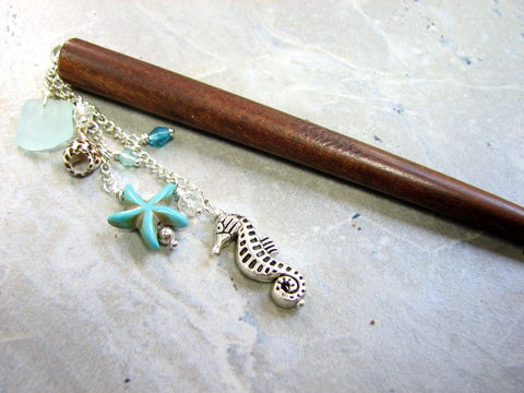 Sea,Glass,Beach,Hair,Pick,with,Turquoise,Starfish,beach hair accessories, sea glass hair pick, beach hair pick, turquoise starfish, silver sea horse, natural shell, beach hair jewelry, seaglass, hairpick, hairstick, beach wedding jewelry, 3 inch dangle, wood hair stick, how to wear, turquoise blue, chain