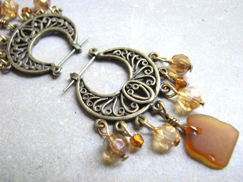 Boho,Brass,Chandelier,Hoop,Sea,Glass,Earrings,boho earrings, brass chandelier hoops, sea glass chandelier earrings, amber brown crystal, hawaii sea glass, boho sea glass jewelry, sea glass hoop earrings, beach glass, seaglass, dangles, vintage sea glass earrings, bits off the beach, bohemian seaglass