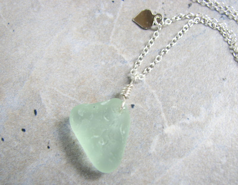 Sea Glass Heart Pendant Necklace on Sterling Silver Chain - product images  of