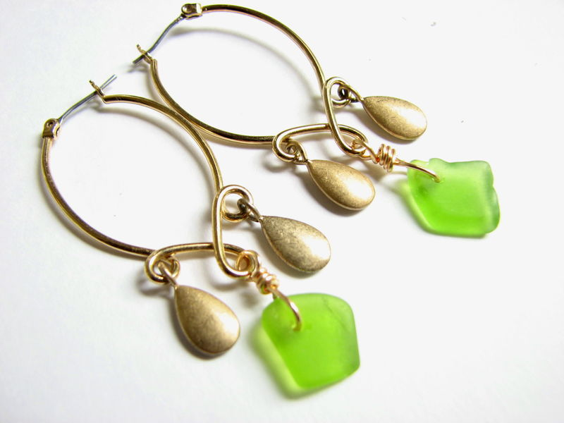 Gold Sea Glass Chandelier Earrings - product images  of