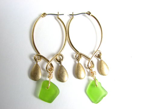 Gold,Sea,Glass,Chandelier,Earrings,Gold chandelier earrings, sea glass chandelier hoop earrings, green and gold dangle earrings, beach glass, seaglass, nautical, ocean jewelry, Bits off the Beach, beach fashion, sea glass glam