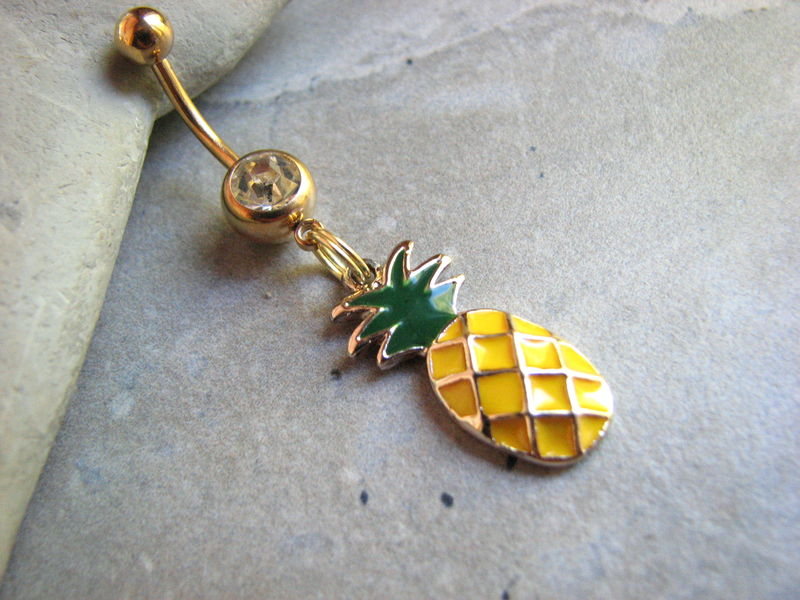 Gold Pineapple Belly Ring on Titanium Belly Bar - product images  of