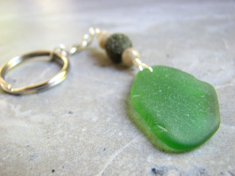 Green Sea Glass Key Ring with Lava Stone - product images  of