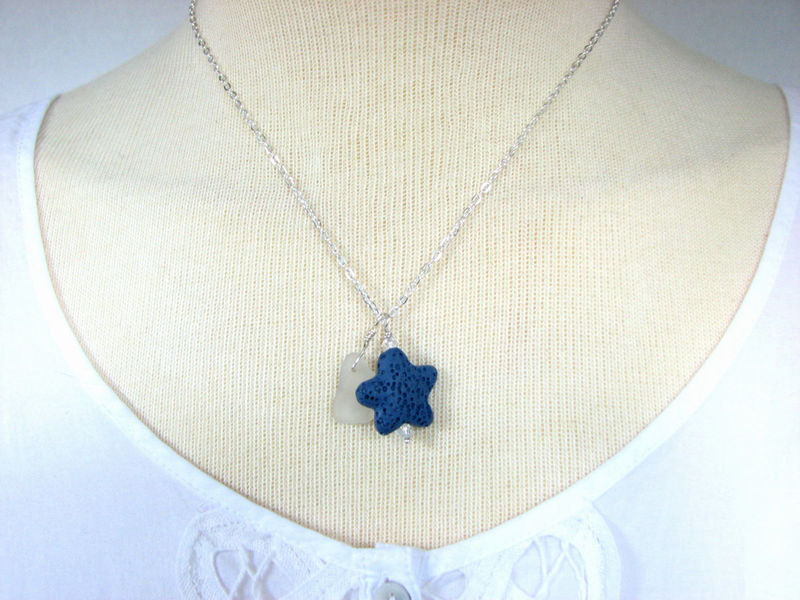 Lava Starfish Sea Glass Necklace Aromatherapy Essential Oils Jewelry - product images  of