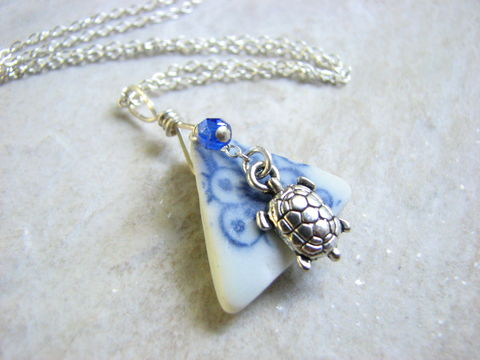 Porcelain,Sea,Glass,Jewelry,,Sterling,Silver,Turtle,Necklace,porcelain sea glass jewelry, sea glass necklace, seaglass necklace, blue and white sea glass, sea turtle, sterling silver necklace with seaglass, beach glass necklace, turtle necklace, silver turtle jewelry, turtle charm pendant, beach, ocean, nautical