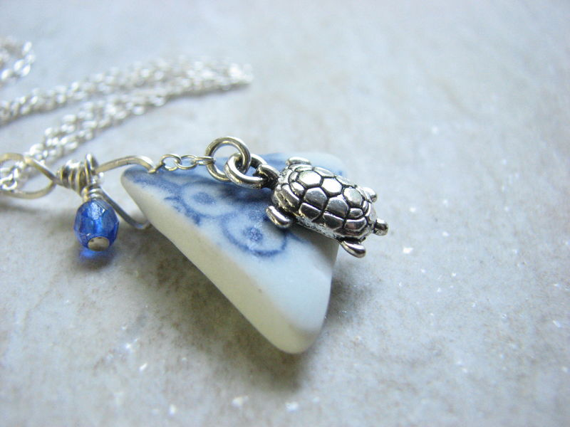 Porcelain Sea Glass Jewelry, Sterling Silver Turtle Necklace - product images  of