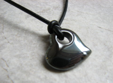 Black,Heart,Leather,Necklace,,Hematite,Stone,Jewelry,hematite heart, hematite stone, black heart, leather necklace, heart necklace, mens necklace, valentine jewelry, love, valentines, gift, hole in heart, tied pendant, bits off the beach, sideways heart necklace, pendant necklace, 18 inch, 19 inch