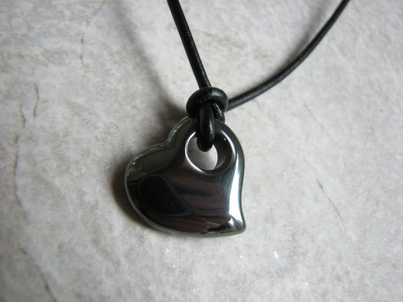 Black Heart Leather Necklace, Hematite Stone Jewelry - product images  of