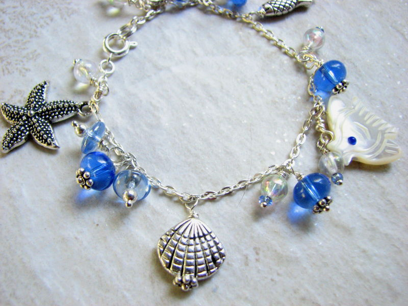 Ocean Charm Bracelet Blue Silver Hand-crafted Jewelry  - product images  of