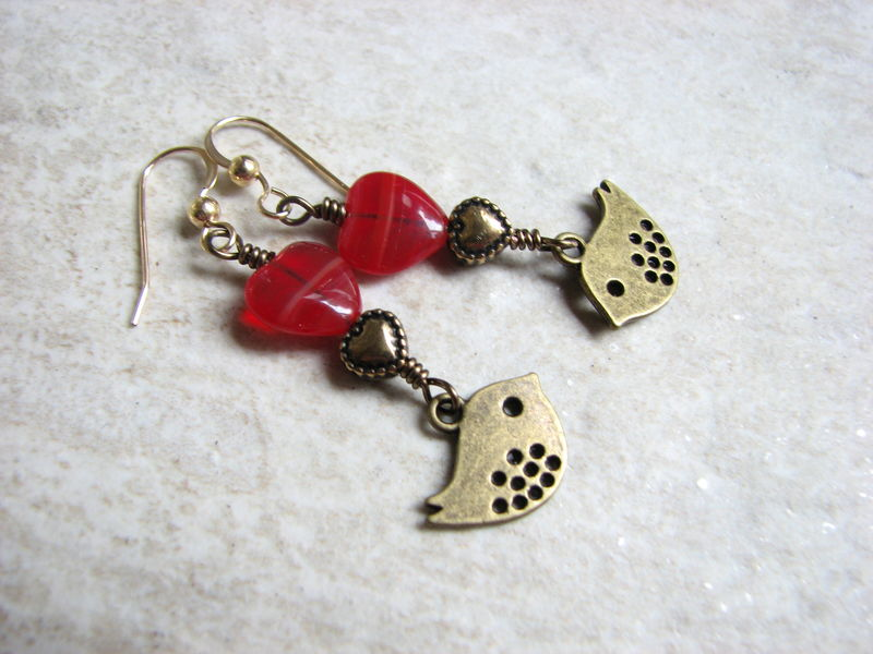 Little Brass Love Bird Dangle Earrings with Red and Gold Heart Beads - product images  of