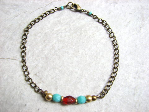 Beaded,Brass,Boho,Ankle,Bracelet,,Red,and,Turquoise,boho, brass, ankle bracelet, anklet, womens anklet, anklet bracelet, red, turquoise, chain, adjustable, southwestern, bohemian, blue, casual, beach jewelry, 9.5 inches, beaded, bead, hand made, bits off the beach