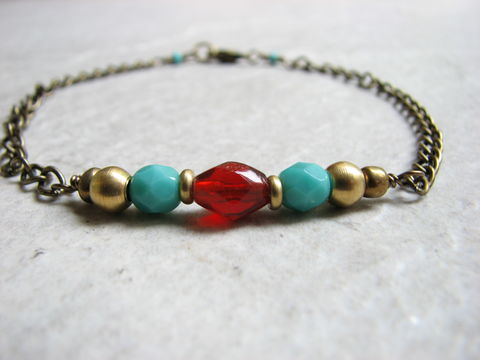 Beaded,Brass,Boho,Ankle,Bracelet,boho, brass, ankle bracelet, anklet, womens anklet, anklet bracelet, red, turquoise, chain, adjustable, southwestern, bohemian, blue, casual, beach jewelry, 9.5 inches, beaded, bead, hand made, bits off the beach