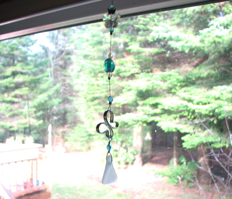 Blue Butterfly Suncatcher, Sea Glass Mirror Ornament - product images  of