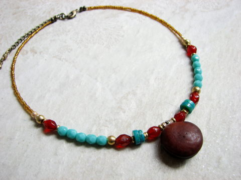Beaded,Brass,Boho,Sea,Bean,Necklace,seabean, sea bean, mucuna seed, hamburger seed, pendant, necklace, beach, ocean, drift seed, jewelry, nautical, beachcomb, 18 inch, brass, red, turquoise, blue, Bits off the beach, glass beads